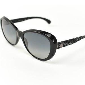 CHANEL: Black, Tweed & CC Polarized Sunglasses dk